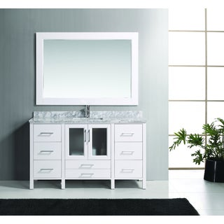 Design Element Stanton 60-inch Solid Wood Single Sink Bathroom Vanity Set with Carrara White Marble Top