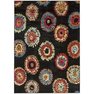 Nourison Perception Black Abstract Rug (5'3 x 7'5)