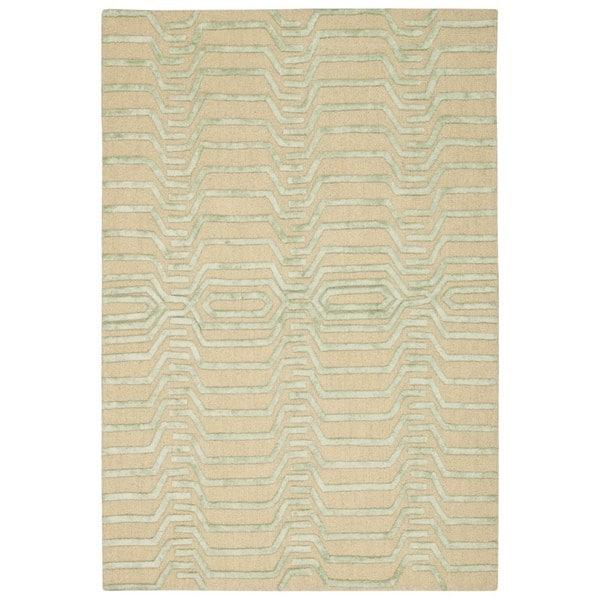 Nourison Strata Ivory Green Graphic Rug (4' x 6')