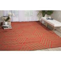 Nourison Strata Latte Red Graphic Rug - 5' x 7'6