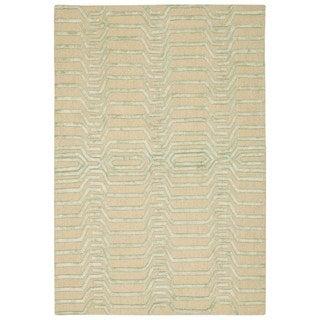 Nourison Strata Ivory/ Green Handmade Graphic Rug