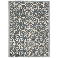 Nourison Marina Denim Patterned Area Rug (8' x 10'6)