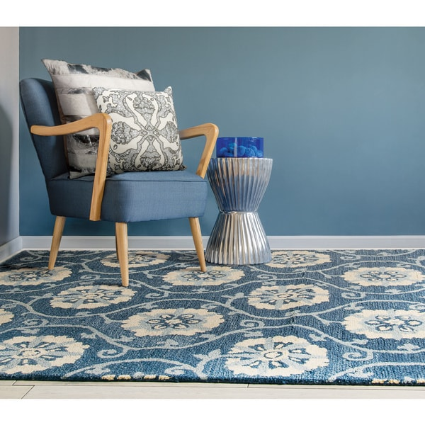 Nourison Marina Navy Patterned Area Rug - 8' x 10'6
