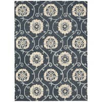 Nourison Marina Navy Patterned Area Rug - 5' x 7'6