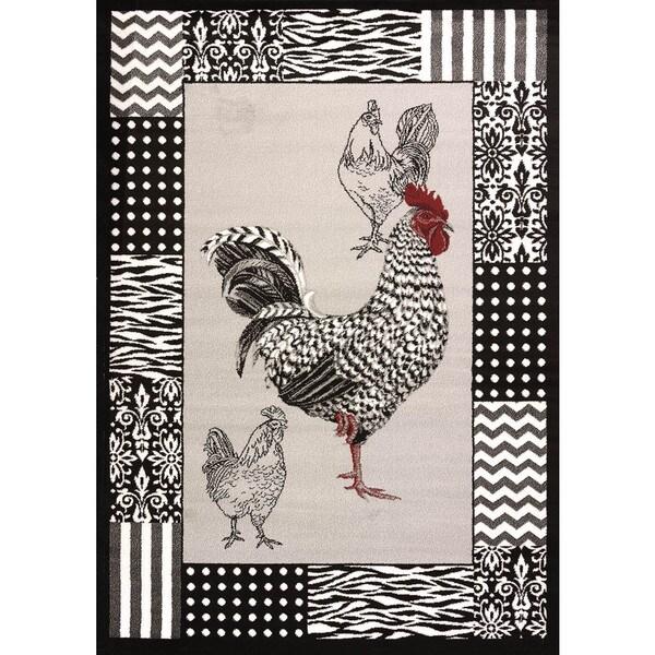 Cristall Darlene Grey Rooster Area Rug 7 10 x 10 6