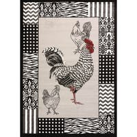 Cristall Darlene Grey Rooster Area Rug - 7'10 x 10'6