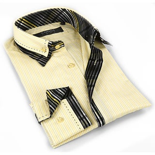 Coogi Luxe Men's Light Yellow / Black Button Down Dress Shirt