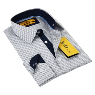 BriO Milano Men's Blue/ White/ Grey Button Down Dress Shirt