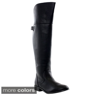 Breckelle's Rider-24 Women's Buckle Strap Over Knee-high Riding Boots