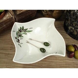 D'Lusso Designs Olive Style Porcelain Twist Dish