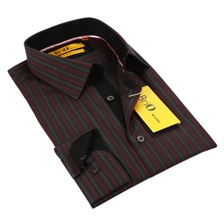 BriO Milano Men's Grey/ Red/ Black Button Down Dress Shirt