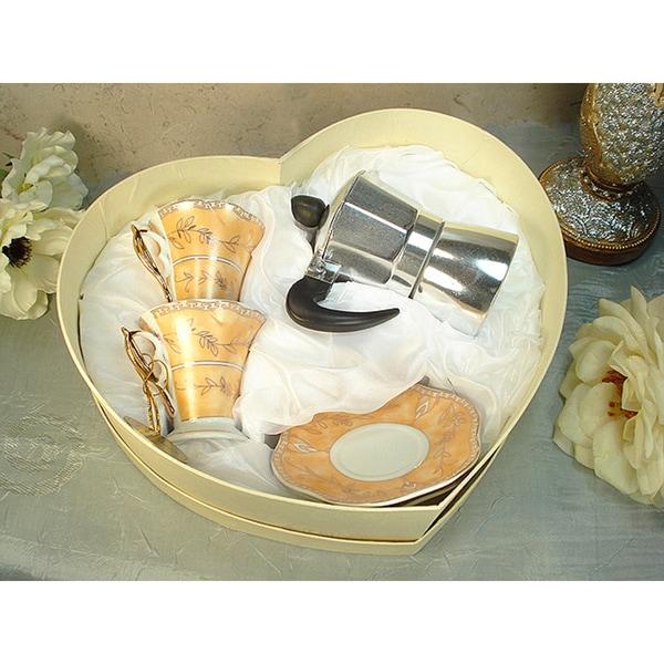 D'Lusso Designs Gold Design 4-piece Espresso Set with Espresso Pot