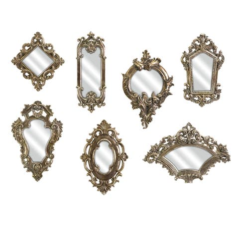 Grand Set of 7 Loletta Victorian Inspired Mirrors - Antique Gold - A