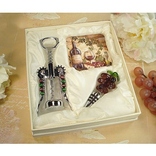 D'Lusso Designs Murano Wine Cheese Design Cork Screw and Stopper with 2 Coasters Set