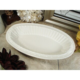 D'Lusso Designs Couture Line Ivory Ceramic Deep Oval Bowl