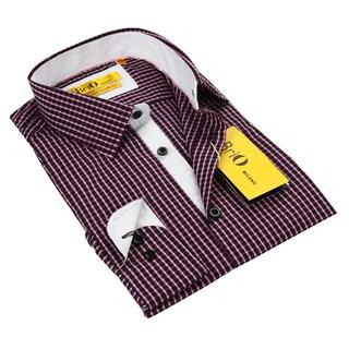 BriO Milano Men's Red/ Black/ White Button Down Dress Shirt