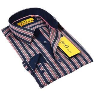BriO Milano Men's Blue/ Pink/ White Button Down Dress Shirt