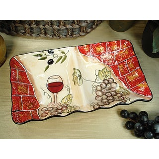 D'Lusso Designs Wine Cheese Collection Ceramic 2-section Dish