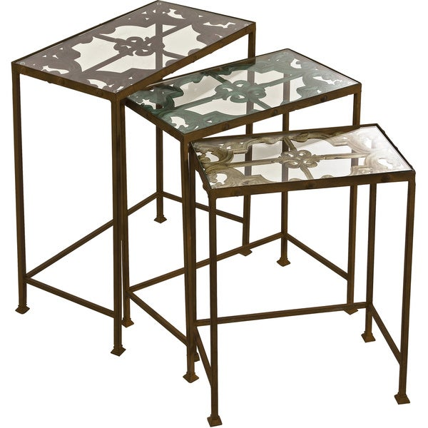 Deon Industrial Style Pattern Metal Rectangle Coffee Table: Shop Torry Nested Tables (Set Of 3)