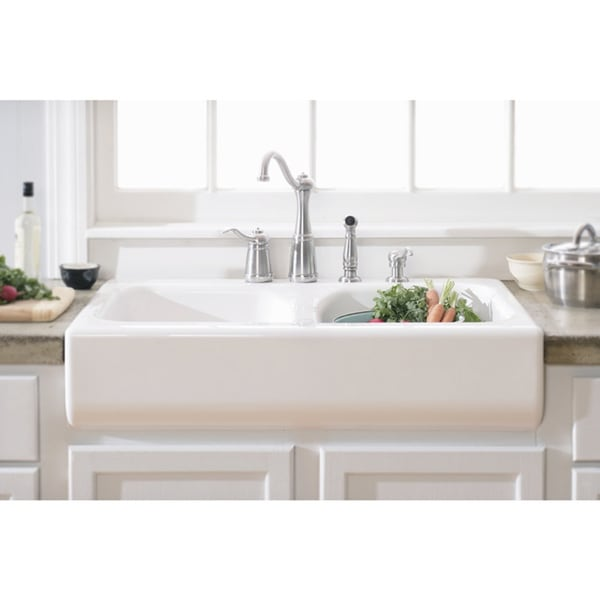 Lyons Deluxe Designer White A Front Dual Bowl Acrylic 10 Inch Deep Kitchen Sink