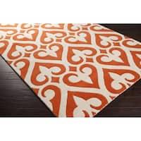 Hand-tufted Evie Orange/Ivory New Zealand Wool Area Rug - 9' x 13'