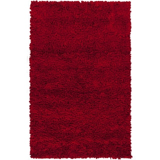 Hand-woven Katrine Red Shag New Zealand Wool Rug (8' x 10')