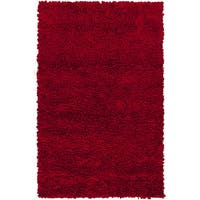 Hand-woven Katrine Red Shag New Zealand Wool Area Rug (8' x 10') - 8' x 10'