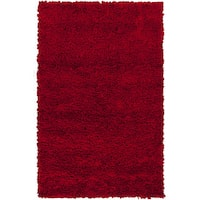 Hand-woven Katrine Red Shag New Zealand Wool Area Rug - 8' x 10'