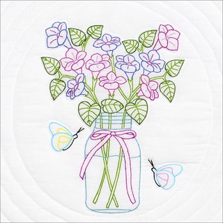 "Stamped White Quilt Blocks 18""X18"" 6/Pkg-Mason Jar & Flowers"