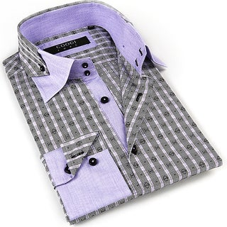 Coogi Luxe Men's Gray/ Purple/ Black Button Down Dress Shirt