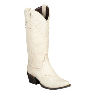 Lane Boots Women's 'Jeni Lace' Ivory Leather Cowboy Boots