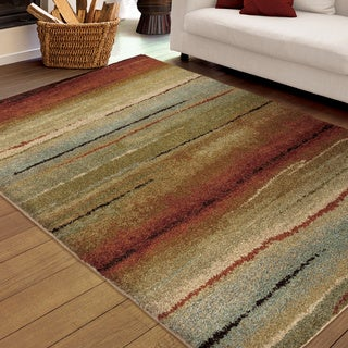 Carolina Weavers Grand Comfort Collection Field of Vision Multi Shag Area Rug (5'3 x 7'6)