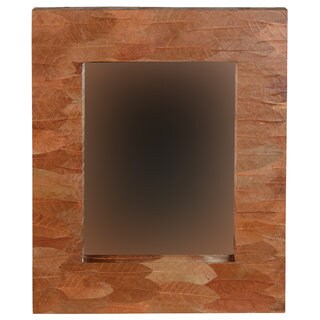 Linon Mahogany Leaf Rectangle Mirror