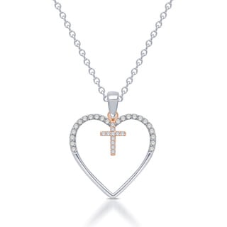 Unending Love Sterling Silver Silhouettes of Love 1/8ct TDW Diamond Heart Cross Pendant (I-J, I2-I3)