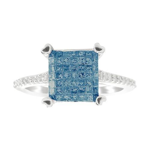 Sterling Silver 0.60ctw Princess Cut Blue Diamond Ring