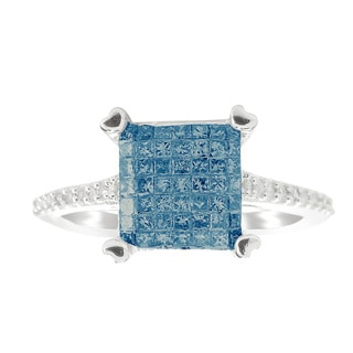 Sterling Silver 0.60ctw Princess Cut Blue Diamond Ring