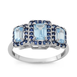 Gioelli Sterling Silver Created Aquamarine And Created Sapphire Emerald Cut Ring