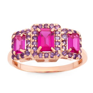 Gioelli Rose Goldplated Sterling Silver Created Ruby And Amethyst Emerald Cut Ring
