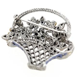 Blue Flower Basket Crystal Pin Brooch