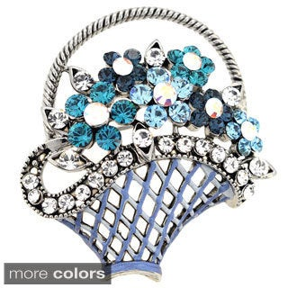 Blue Flower Basket Crystal Pin Brooch