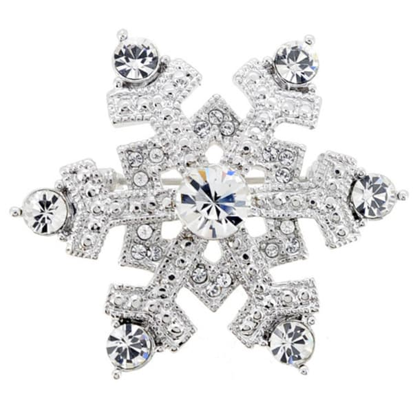 Chrome Christmas Snowflake Crystal Pin Brooch