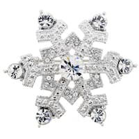 Chrome Christmas Snowflake Crystal Pin Brooch