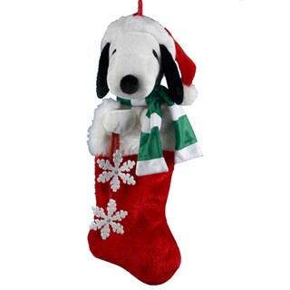 Kurt Adler 21-inch Snoopy Plush Head Stocking with Snowflake Dangles