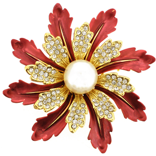 Red Flower Pin Brooch