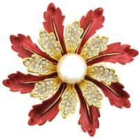 Red Flower Pin Brooch