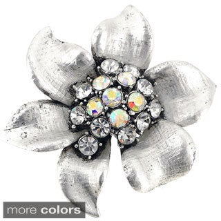 Crystal Flower Pin Brooch
