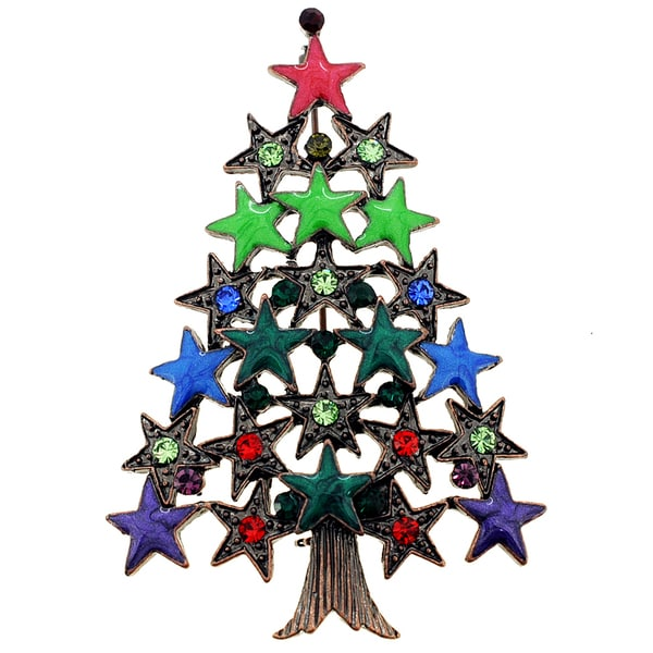Crystal Christmas Tree Star Pin Brooch