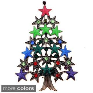 Crystal Christmas Tree Star Pin Brooch