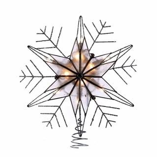 Kurt Adler 10-light 10-inch Silver Capiz Wire Snowflake Treetop