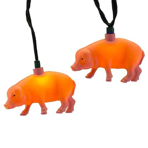 Kurt Adler UL 10-Light Pink Pig Light Set